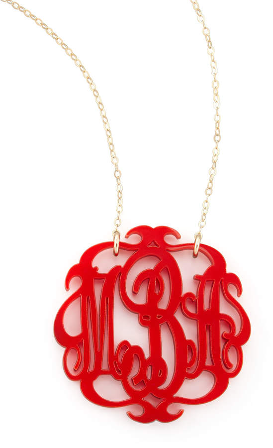 Moon and Lola Large Acrylic Script Monogram Pendant Necklace