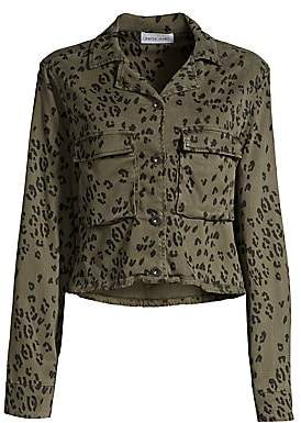 Bella Dahl Women's Leopard-Print Cropped Military Jacket