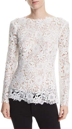 Monique Lhuillier High-Neck Long-Sleeve Floral-Guipure Lace Top