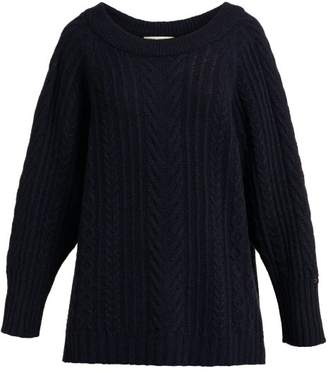 Queene and Belle Jasmina Crystal Embellished Cashmere Sweater - Womens - Navy
