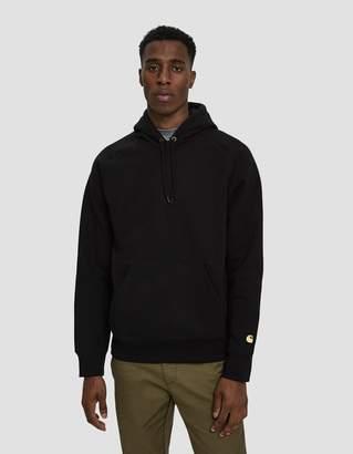 Carhartt Wip Hooded Chase Fleece Sweatshirt in Black/Gold