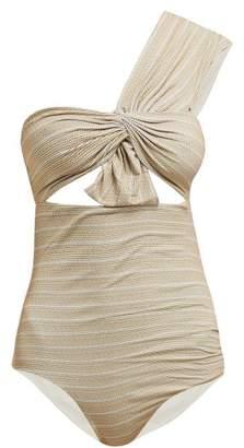 Marysia Swim Venice One Shoulder Cut Out Swimsuit - Womens - Beige