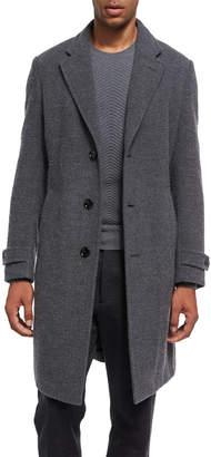 Ermenegildo Zegna Four-Button Cashmere Boucle Overcoat