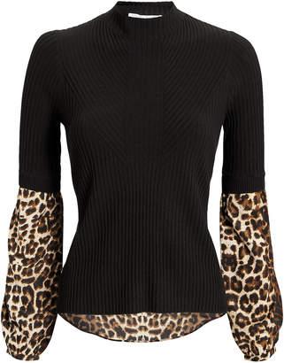 Veronica Beard Leopard Combo Moon Sweater