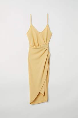 H&M Draped Wrap-front Dress - Yellow