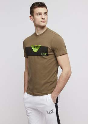 Emporio Armani Ea7 Train Graphic Stretch Cotton T-Shirt With Logo Print