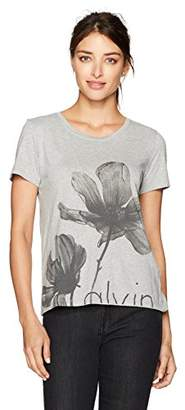 Calvin Klein Jeans Women's Short Sleeve Floral Crew Neck T-Shirt
