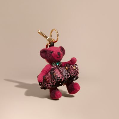 Burberry Burberry Thomas Bear Charm in Leather Lace and Crystals