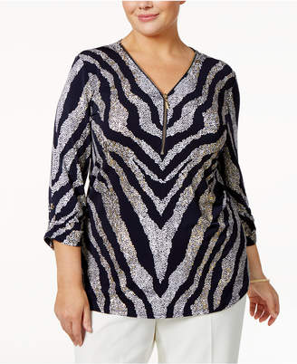 JM Collection Plus Size Zebra-Print Top, Created for Macy's