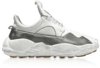 Versace Versus Optic White & Silver Neoprene and Suede Sport Men's Sneakers