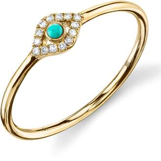 Sydney Evan Turquoise Diamond Evil Eye Gold Ring