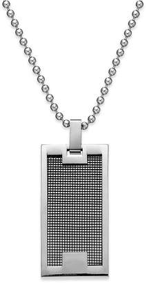 Sutton by Rhona Sutton Men's Stainless Steel Panel Dog Tag Pendant Necklace