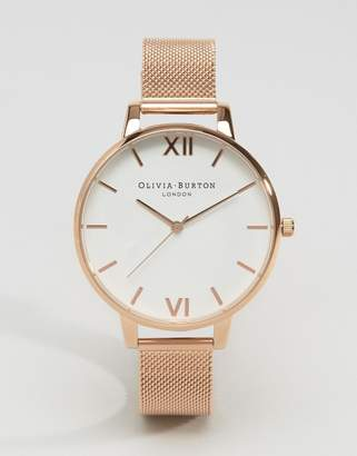 Olivia Burton Rose Gold Big Dial Mesh Watch