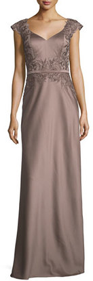 La Femme Embellished Faille Cap-Sleeve Gown, Cocoa $478 thestylecure.com