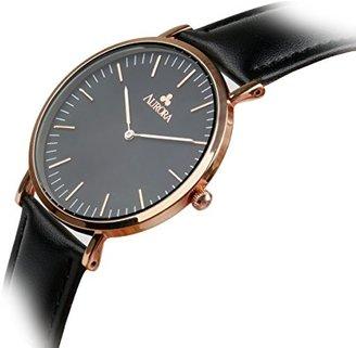 Aurora 腕時計 レディース 36mm アナログ表示 レザーバンド 黒い文字盤 防水 薄型 ブラック