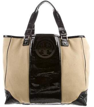 Tory Burch Leather Trimmed Canvas Tote