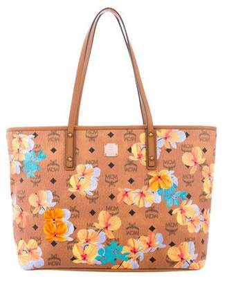 MCM Floral Visetos Essential Top Zip Shopper