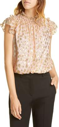 Rebecca Taylor Metallic Leopard Spot Silk Blend Top