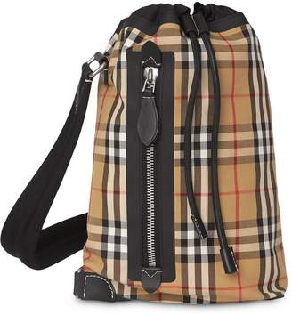 Burberry check cotton duffle backpack