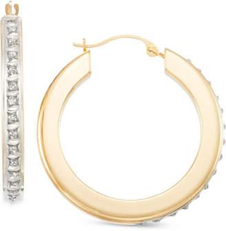 Signature Diamonds Flat Hoop Earrings in 14k Gold over Resin Core Diamond and Crystallized Diamond Dust