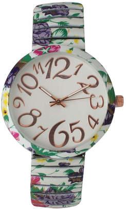 OLIVIA PRATT Olivia Pratt Womens White Green Purple Floral Expansion Band Watch 25975White Green Purple
