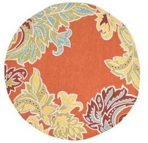 Liora Manné Ravella Ornament Leaf Boarder Round Indoor and Outdoor Rug