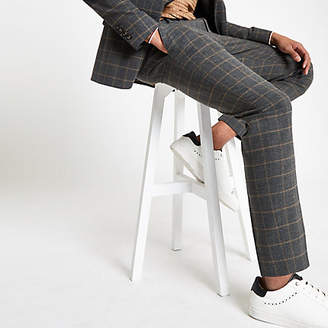 River Island Mens Dark grey check skinny suit trousers