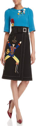 Dolce & Gabbana Toy Soldier Color Block Wool Dress
