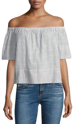 AG Jeans Sylvia Off-the-Shoulder Top, Blue Stripes