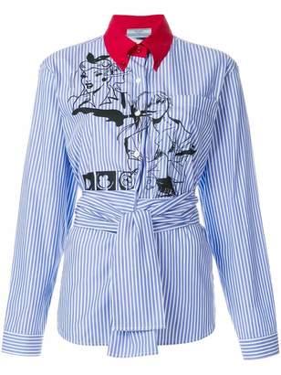 Prada comic book striped shirt