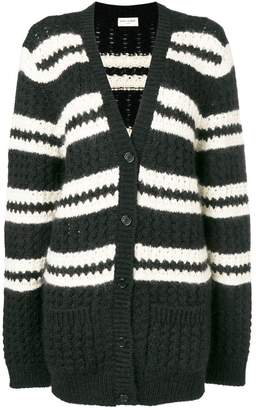 Saint Laurent striped long-sleeve cardigan
