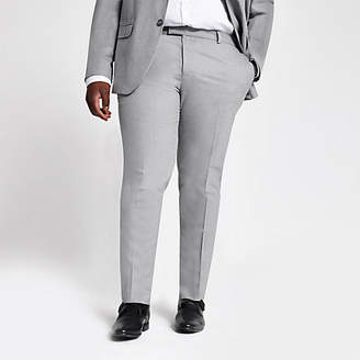 River Island Big and Tall grey textured suit trousers