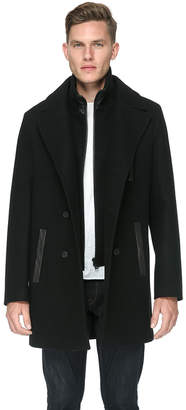 Soia & Kyo TOM straight-fit coat with leather trims and notch collar