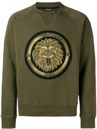 Balmain copper lion crewneck sweatshirt