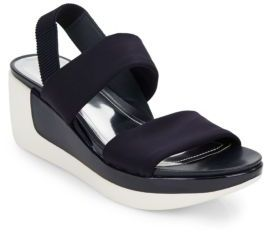 Pepe Pot Neoprene Two-Tone Wedge Sandals $59 thestylecure.com