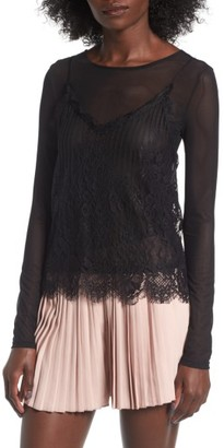 Women's Leith Two-Piece Lace & Mesh Top $59 thestylecure.com