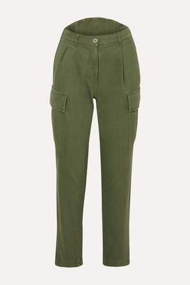 Pushbutton - Cotton-canvas Tapered Cargo Pants - Army green