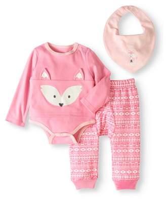 Quiltex Newborn Girls' Bodysuit, Pants and Bib 3-Piece Layette Set