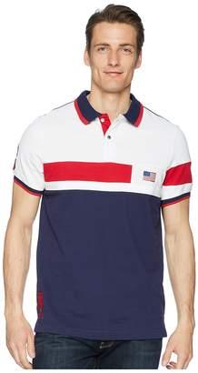 U.S. Polo Assn. Solid Flag Color Block Polo Shirt Men's Short Sleeve Pullover