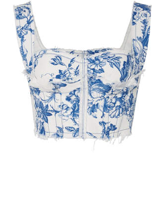 Oscar de la Renta Raw Hem Floral Stretch-Cotton Bustier
