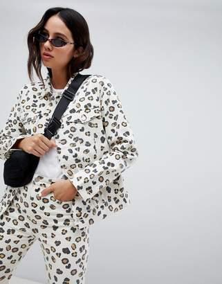 Weekday Leopard denim trucker jacket in Organic Cotton