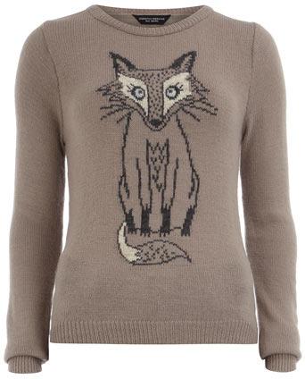 Dorothy Perkins Mink sketchy fox jumper
