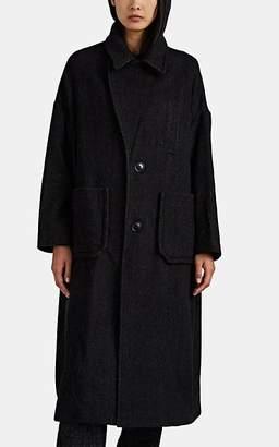 Yohji Yamamoto Regulation Women's Herringbone Wool-Blend Peacoat - Black