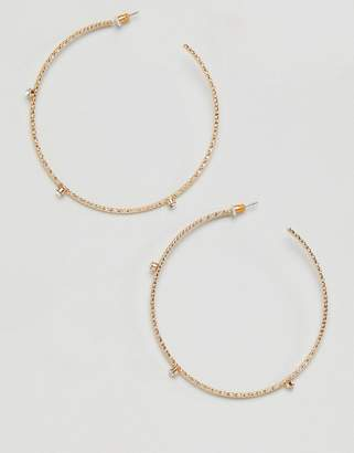 Missguided Fine Hoop Crystal Gold Earrings