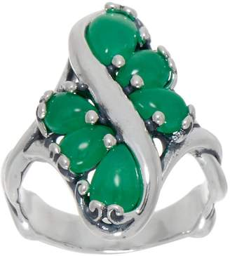 Carolyn Pollack Sterling Silver Six Stone Jade Cabochon Ring