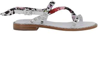 Ash White Leather/fabric Sandals