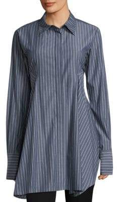 Donna Karan Paneled Stripe Button-Down Blouse