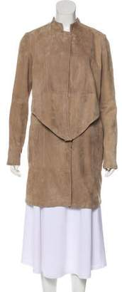 Halston Knee-Length Button-Up Coat