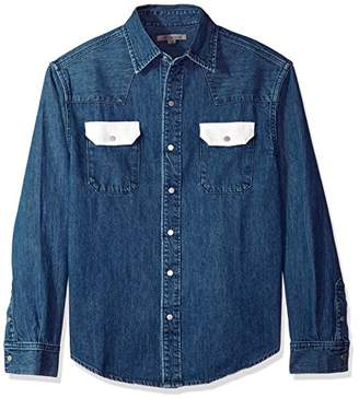 at Amazon.com · Calvin Klein Jeans Men s Blue Western Denim Shirt Contrast  Pockets 0414173c4258