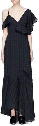 ADEAM Asymmetric ruffle check seersucker maxi dress